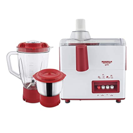 79737f64e Buy Maharaja Whiteline Gala JX-117 450-Watt Juicer Mixer Grinder with 2  Jars (White Majestic Maroon) Online at Low Prices in India - Amazon.in
