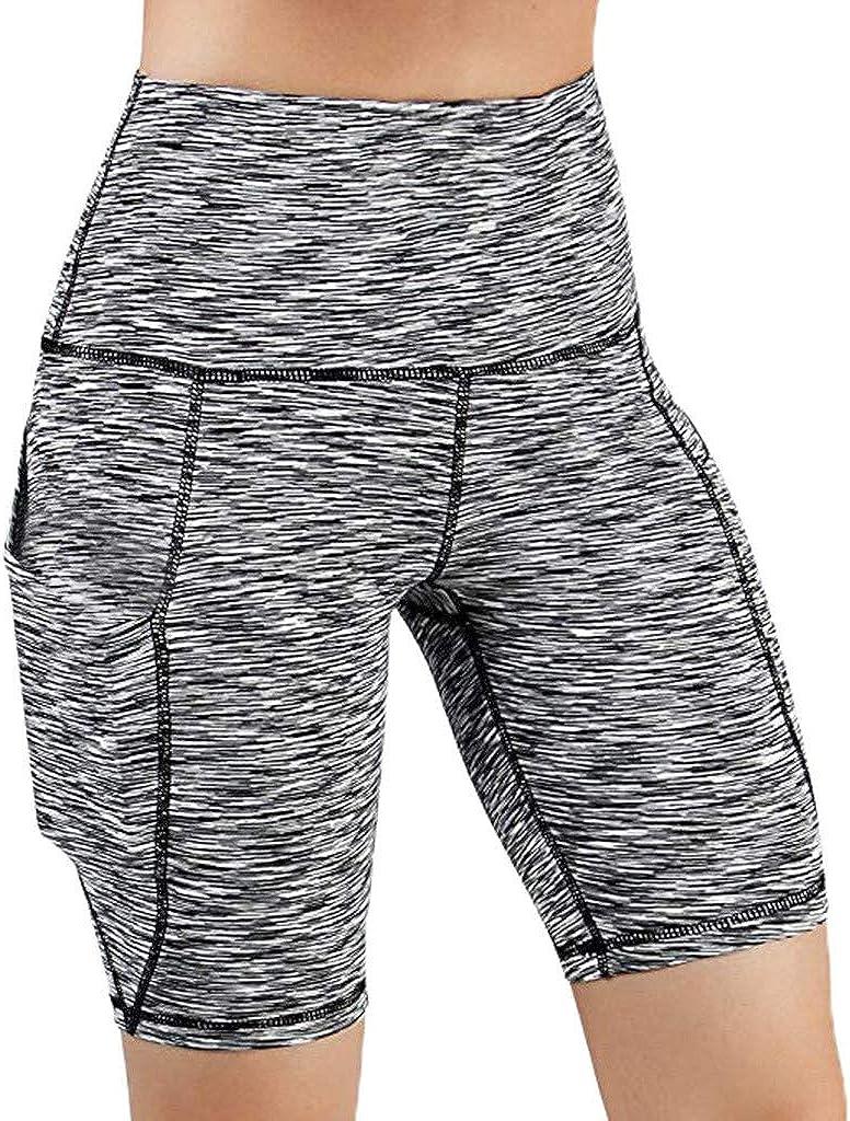 HYSGM Women Tummy Control High Waist Out Pocket Yoga Short Pants Running Athletic Gym Slim Short Leggings