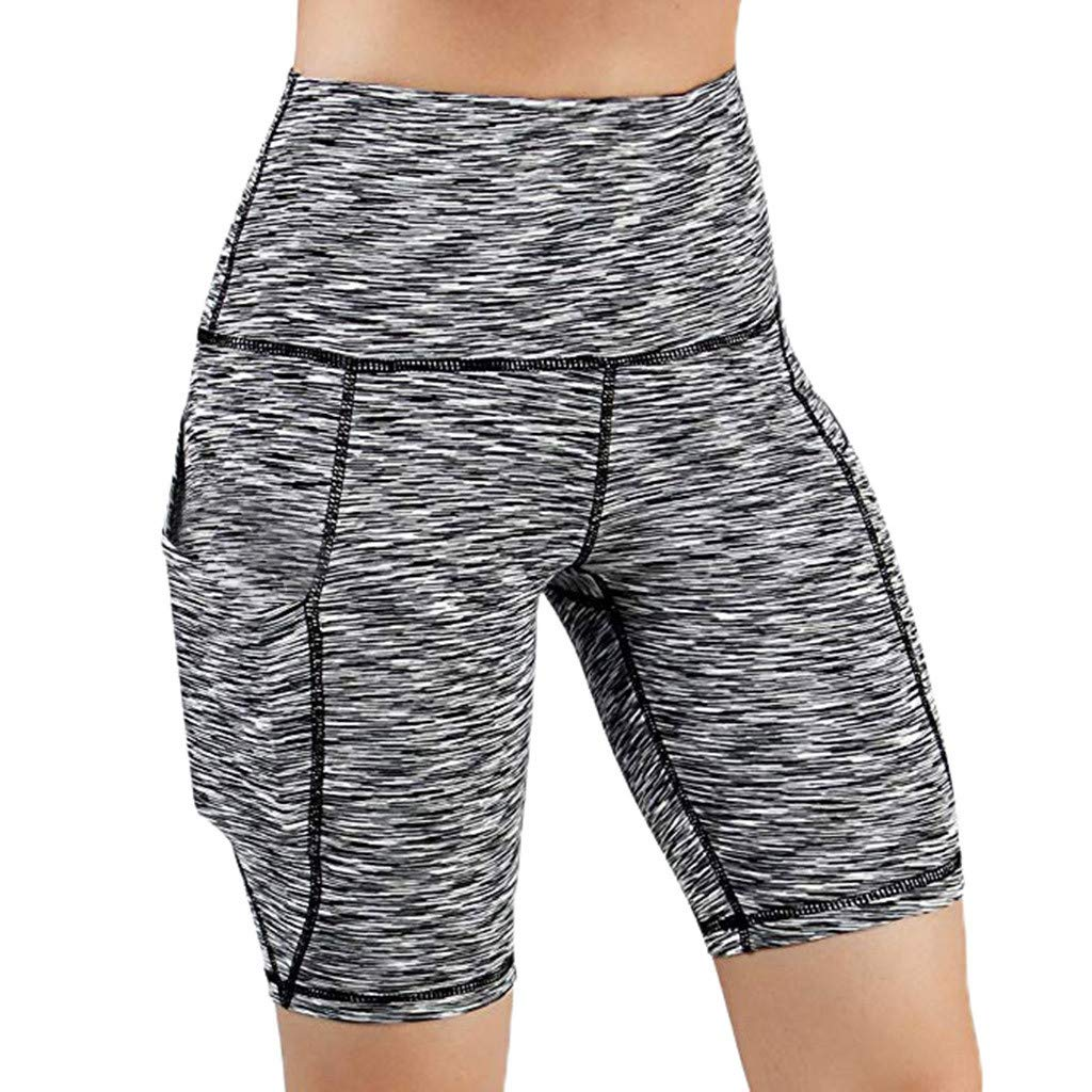 RUIVE Women's Shorts Exercise High Waist Side Pocket Leggings Casual Solid Colour Running Athletic Yoga Pants Gray