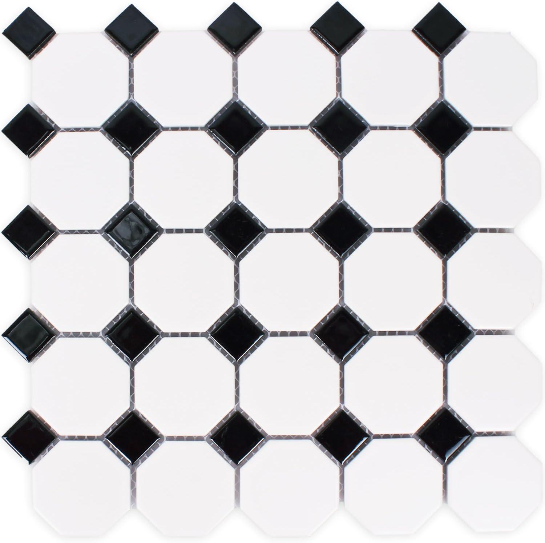 Keramik Mosaik Octagon Belami Schwarz Weiss