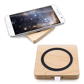 kwmobile Cargador inalámbrico Qi de Madera - Base de Carga por inducción para Smartphone iPhone Samsung - Estación de Carga de Madera para móvil