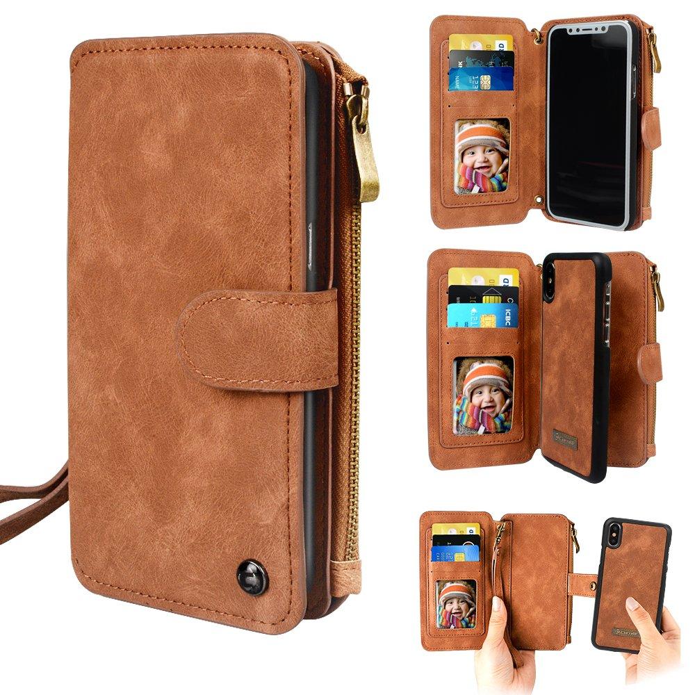 Funda de iPhone X Wallet, Funda iPhone X Holsters Funda desmontable Funda de cuero Premium PU Cremallera Ranura para tarjeta monedero Soporte correa para muñeca Funda multifunción para iPhoneX (Negro) CPT-LY0113