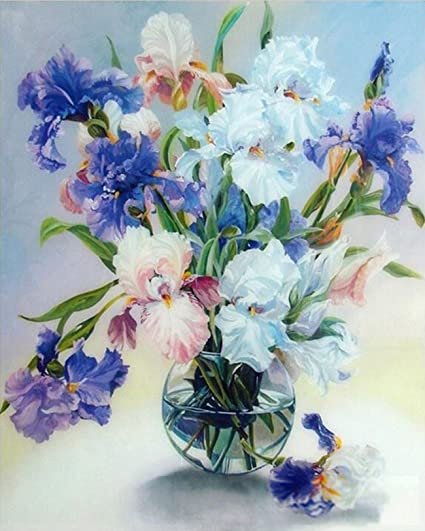 Image Unavailable. Image not available for. Color  ZHENC 5D Fragrant  Flowers Vase Diy Full Square Diamond Painting Embroidery Full Drill Craft Decor  Cross bfaa453694ce