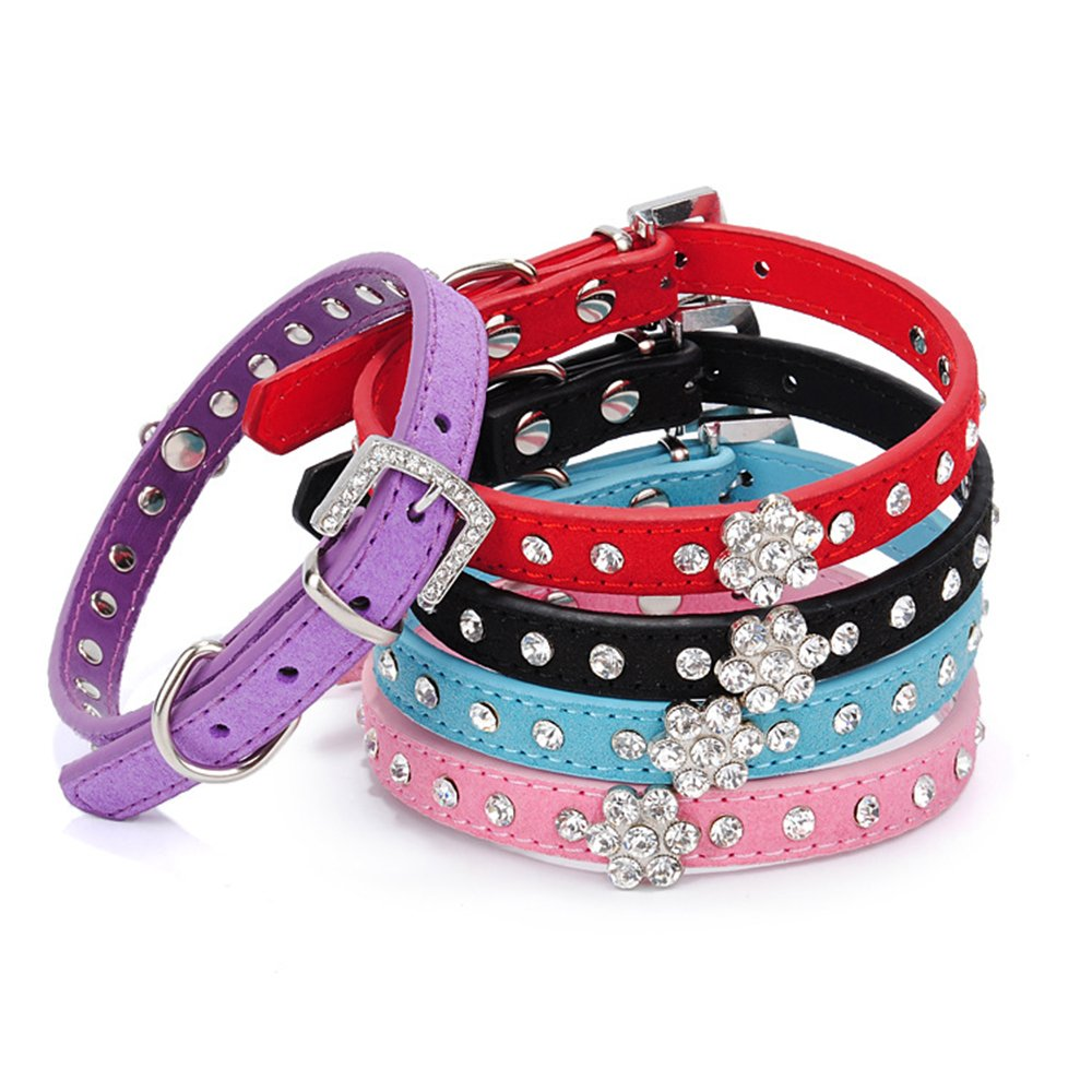 Pack of 2,random collar pack of 2 collar-S size Pack of 2,random collar pack of 2 collar-S size Personalized Rhinestone Leather Bling Crystal Pet Dog Cat Collars for Small Medium Breeds Plum Blossom Diamond,Multi-colord