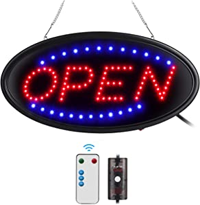 LED Open Sign with Remote, 19x10inches Ultra Bright Electric Light Up Signs for Business, Timing Function, 2 Lighting Modes Flashing & Steady, Advertisement Board for Store, Bar, Hotel, Cafe