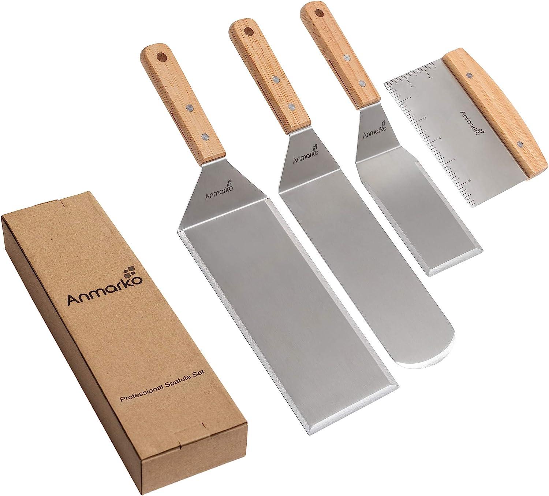 ideal f/ür Pfannkuchen Grillpfanne Kochen auf flachen Oberfl/ächen Scraper Chopper fannenheber- aus Edelstahl Pfannenwender-Profi-Set