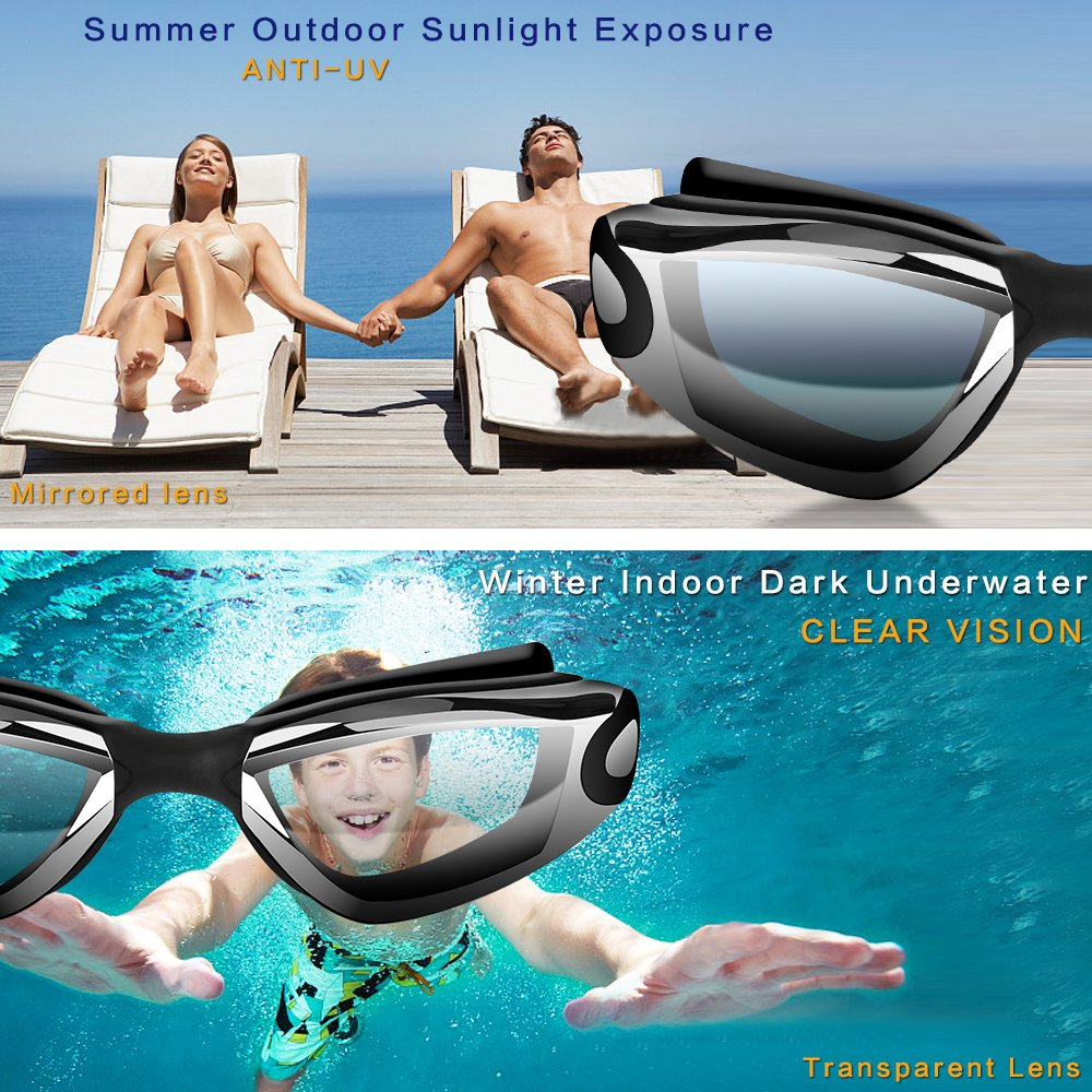 Case for Men Women Adult Youth Kids Hurdilen Swim Goggles Swimming Goggles Anti-Fog UV Protection Coated Lens No Leaking with Nose Clip Earplugs