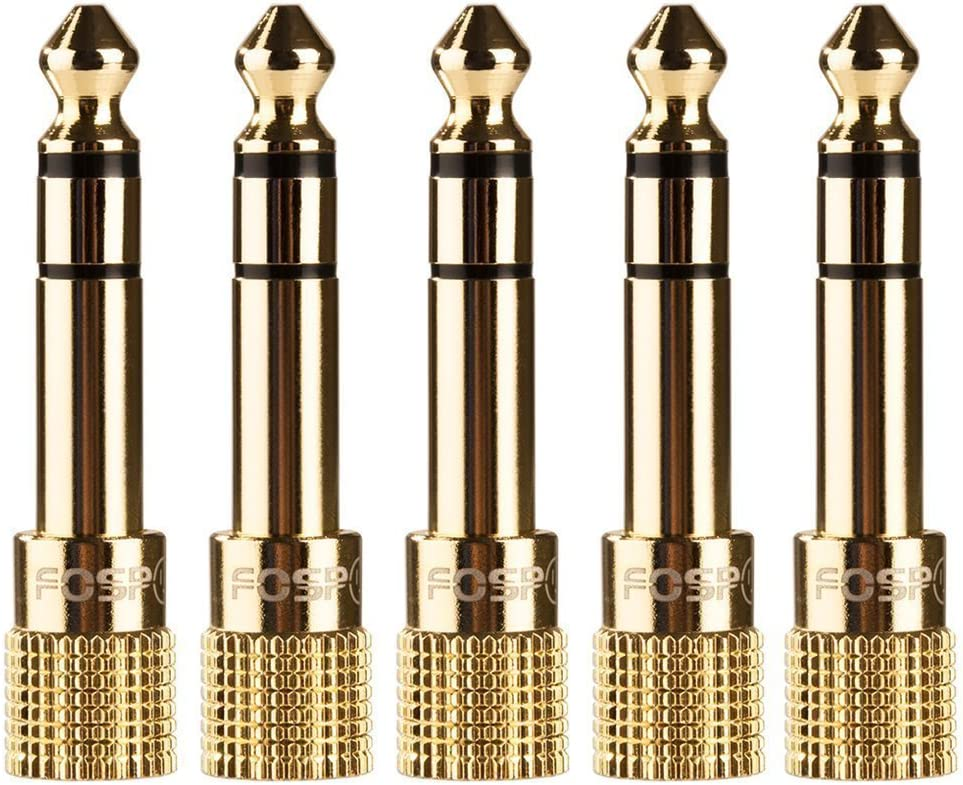 FosPower 6.35mm (1/4 inch) Male to 3.5mm (1/8 inch) Female 3-Conductor TRS AUX Stereo Audio Headphone Jack Adapter - 24K Gold Plated (5 Pack)