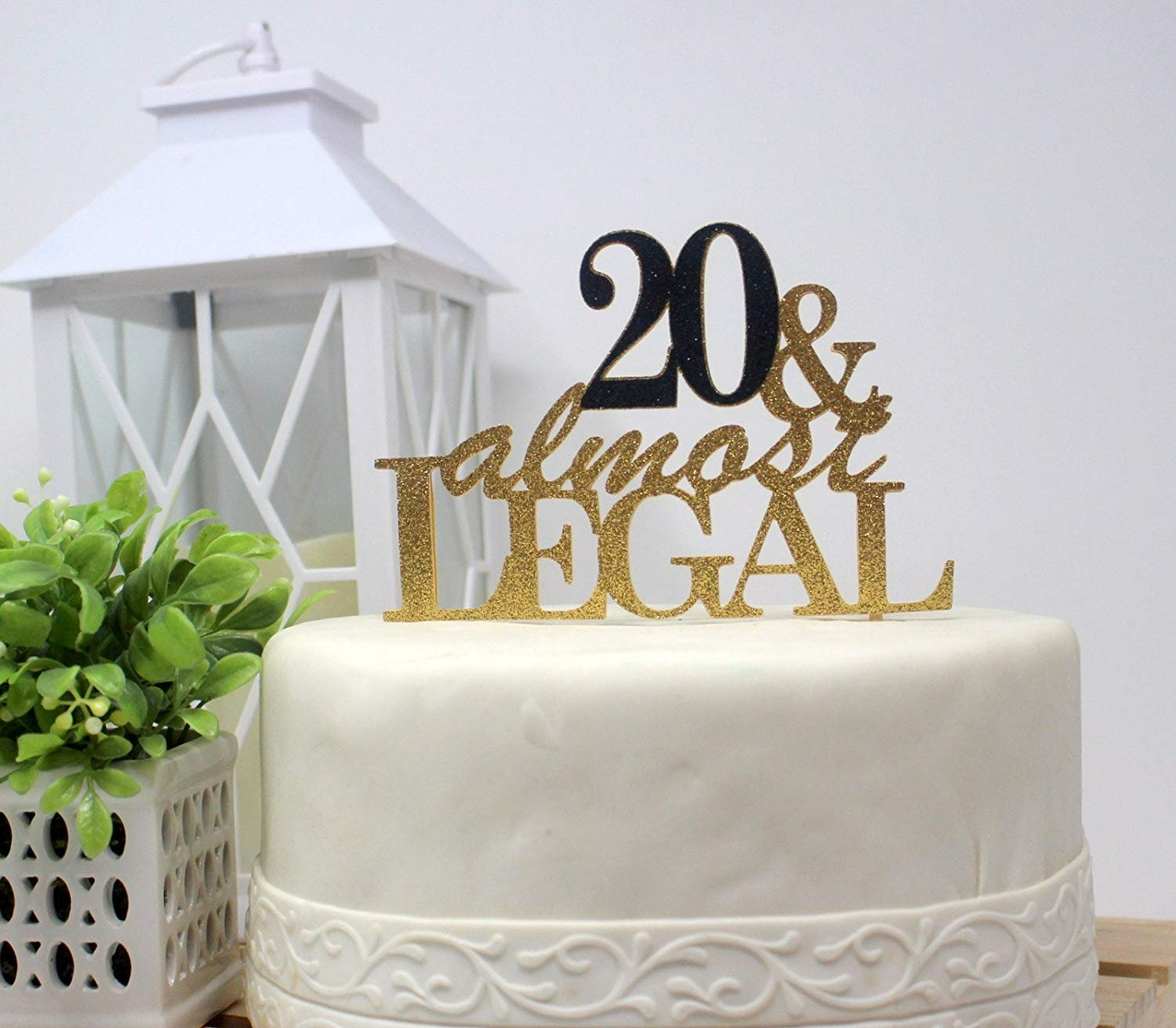 All About Details CAT20AL 20 and Almost Legal Cake (Gold and Black), 1 PC, 20th Birthday, Glitter Topper, 6in Wide, 8in Tall