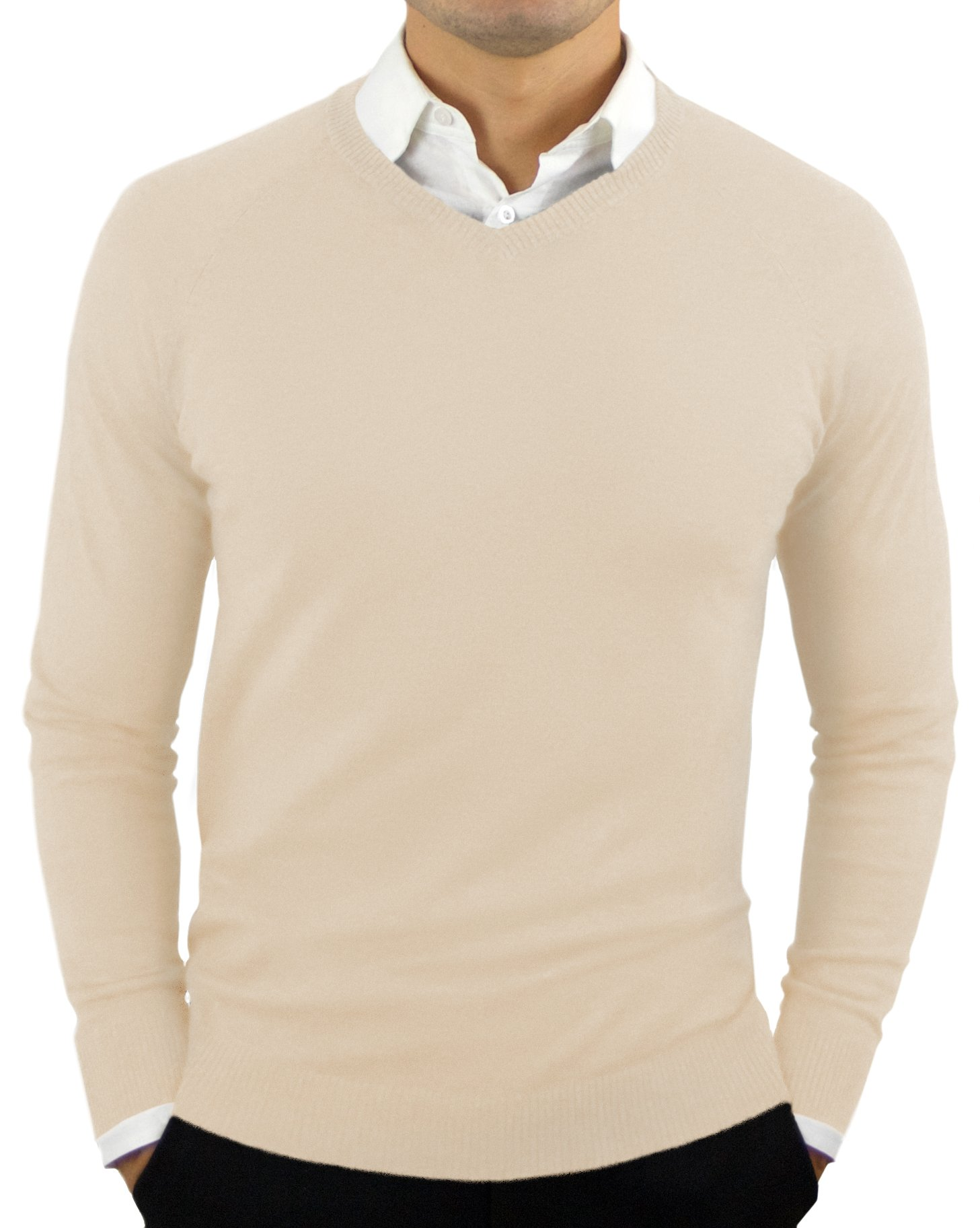 Comfortably Collared Men's Perfect Slim Fit Lightweight Soft Fitted V-Neck Pullover Sweater, Large, Oatmeal Beige