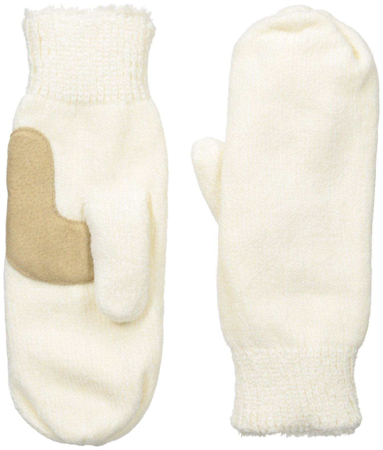 Isotoner Women's Chenille Mittens with Boomerang Palm Patch and Micro Luxe Lining, Ivory, One Size