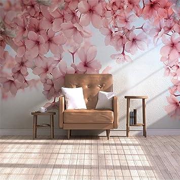 Lzxydbz Tapeten 3D Wohnkultur Kirschblüte rosa Blume ...