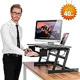 "SMONET Desk Riser Height Adjustable Standing Desk Sit Stand Up Converter Laptop Stands Large Wide Desk Riser, 32"" Tabletop Workstation Foldable fits Dual Monitor with Retractable Keyboard Tray - Black"