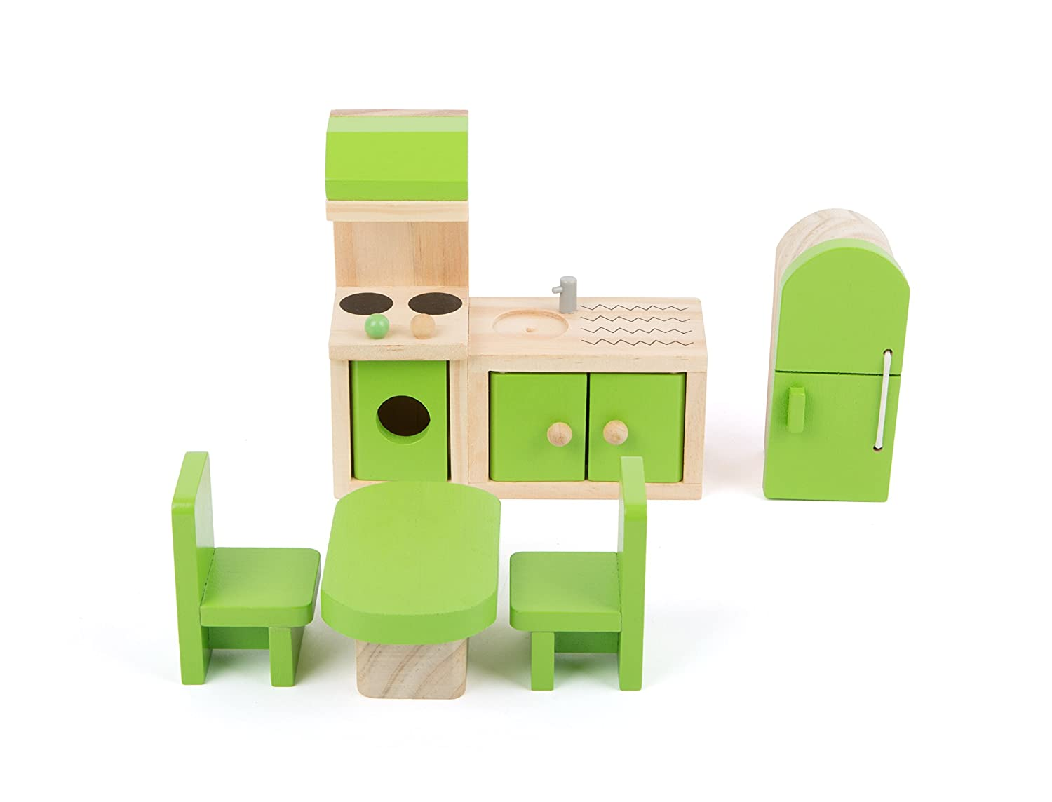 Small Foot 10873 Wooden Furniture Dollhouse, Incl. Fridge, Kitchen Unit, Table and Chairs, Suitable for Bending Ideal Doll Accessories for Children from . and up   B078ZZVYGC
