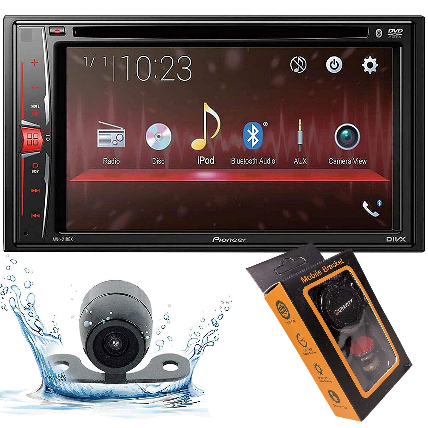 Pioneer AVH-210EX Double DIN Bluetooth in-Dash DVD/CD/AM/FM/Digital Media Car Stereo Receiver with HD Backup Camera and Magnet Phone Holder by Pioneer