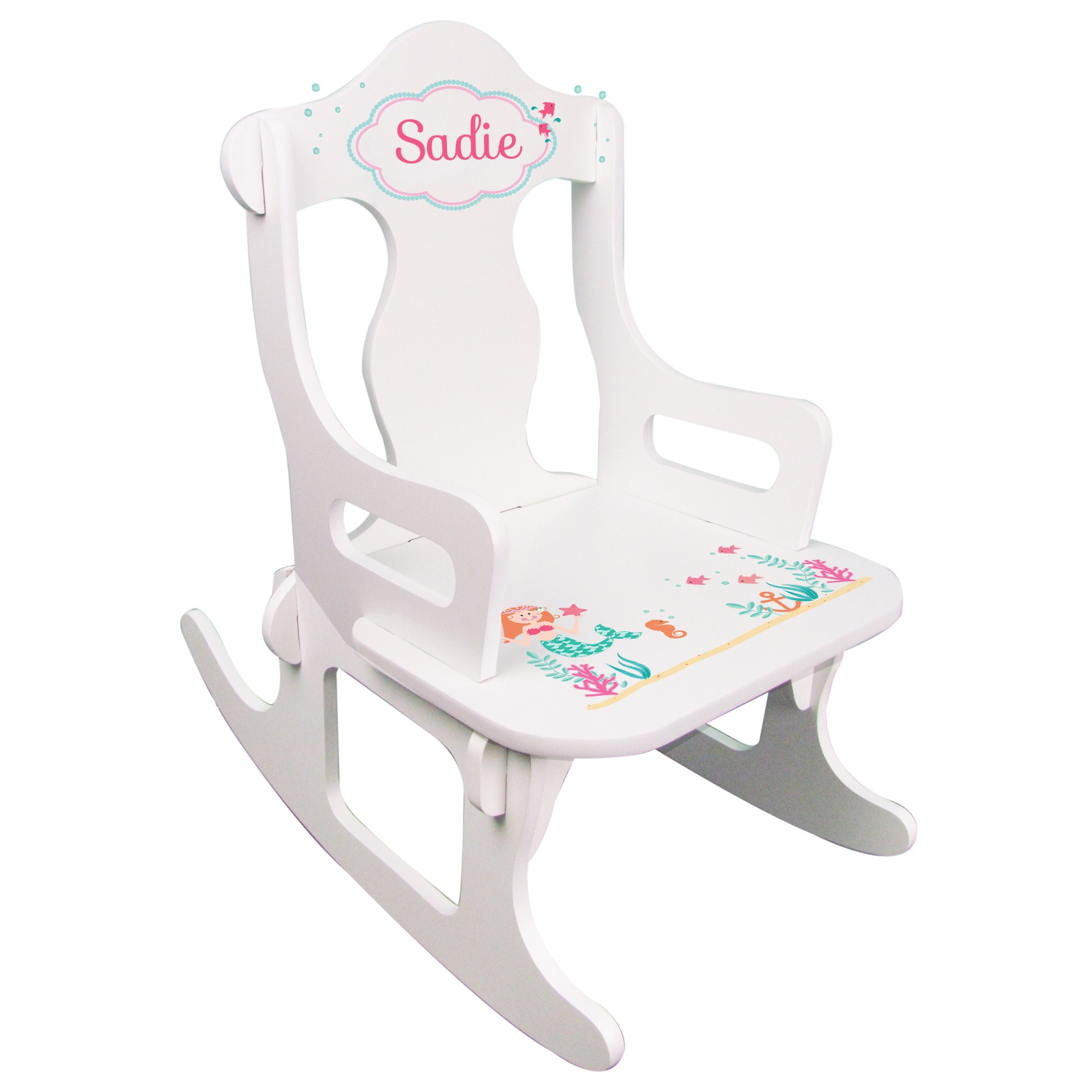 Personalized Child's Mermaid Puzzle Rocking Chair
