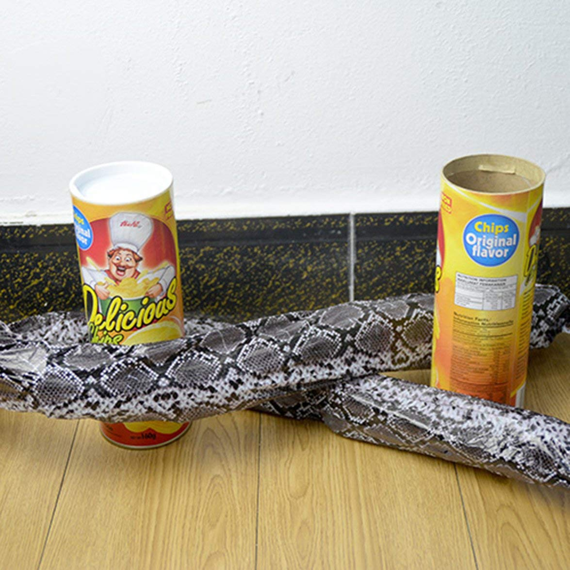 Romirofs Prank Props Potato Snake Potato Chip Funny Tricky Toys Can Jump Fake Snake for April Fool Day Halloween Party Decoration