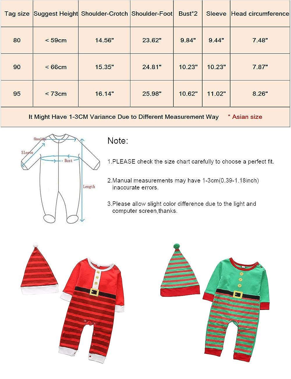 0-2 A/ños de Edad Beb/é Trajes Manga Larga Pijama BESBOMIG Ni/ñito Beb/é Mameluco Navidad Trajes Ni/ños Mono