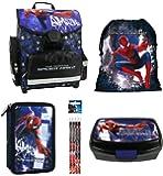 Spiderman Schulranzen Jungen 1 Klasse Tornister Schulrucksack Schultasche SET 5 teilig für Grundschule super leicht unter 1 Kilo ! ZTE5KAS03