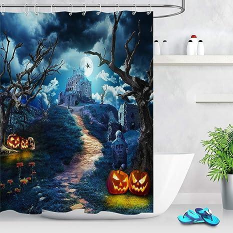 "Halloween Horror Night Witch Castle Pumpkin Waterproof Fabric Shower Curtain 72/"""