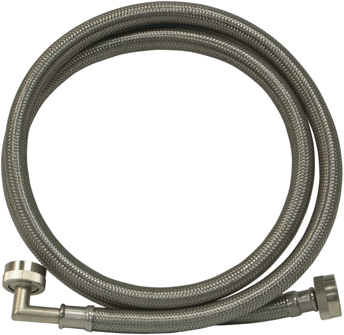 Eastman 48375 Stainless Steel Washing Machine Hose with Elbow, 6'