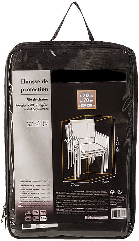 PEGANE Housse de Protection pour Pile de chaises en Polyester Coloris Noir L 70 x P 70 x H 80//120cm Dim