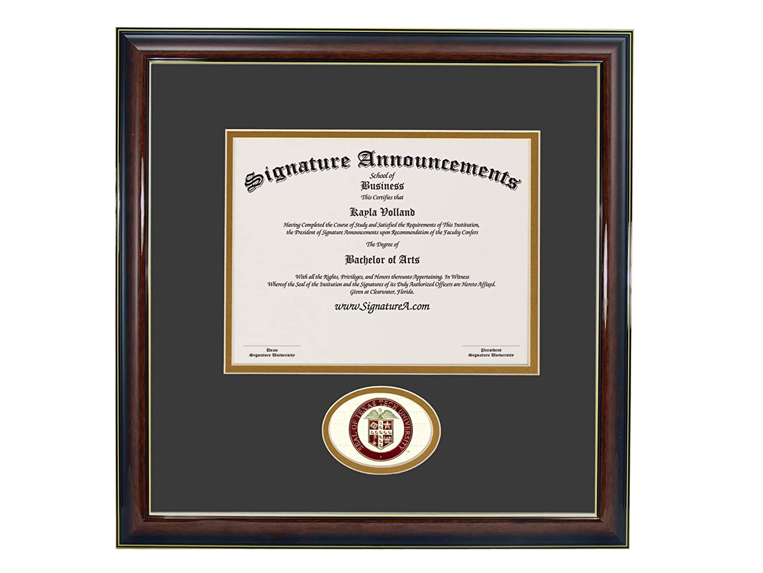 20 x 20 Sculpted Foil Seal Graduation Diploma Frame Signature Announcements Texas-Tech-University-School-of-Law Undergraduate Gloss Mahogany with Gold Accent