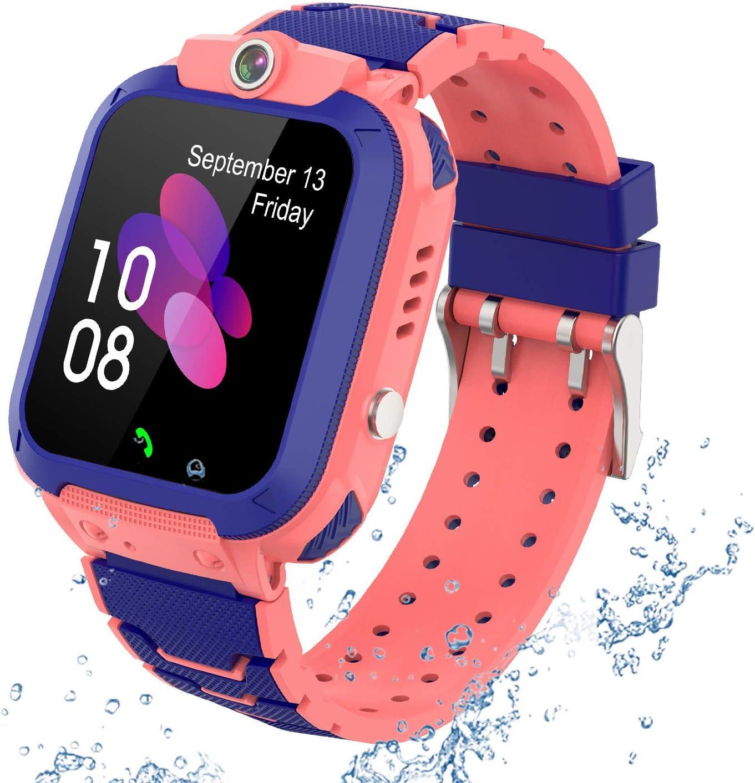 GPS Reloj Smartwatch para niños, impermeable GPS Rastreador Reloj anti-perdida de teléfonos inteligentes SOS, llamada bidireccional juegos matemáticas - regalo para para Niños Niña 3-12 Años, PINK