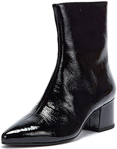 MYA A-Pointed Crack Leather Boots Black