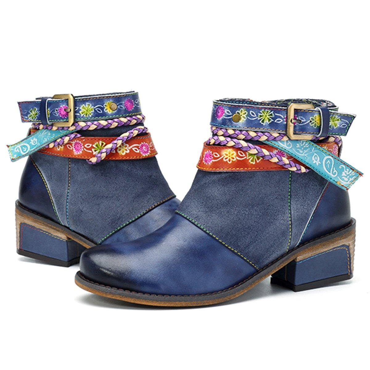 Socofy Mujer Botines de Trabajo en Piel Genuina Zapatos de Trabajo Mocasines de Primavera Flores Botas Casuales Botín bajo con Cremallera Mujer Martin Boots Zapatos de Mujer Hechos a Mano36 EU|Azul