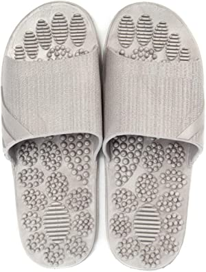 Reflexology & Acupressure Massage Slippers Sandals for Men & Women Home Shoes Shock Absorbing, Cushion Comfort & Arch Support for Better Health(Grey L)