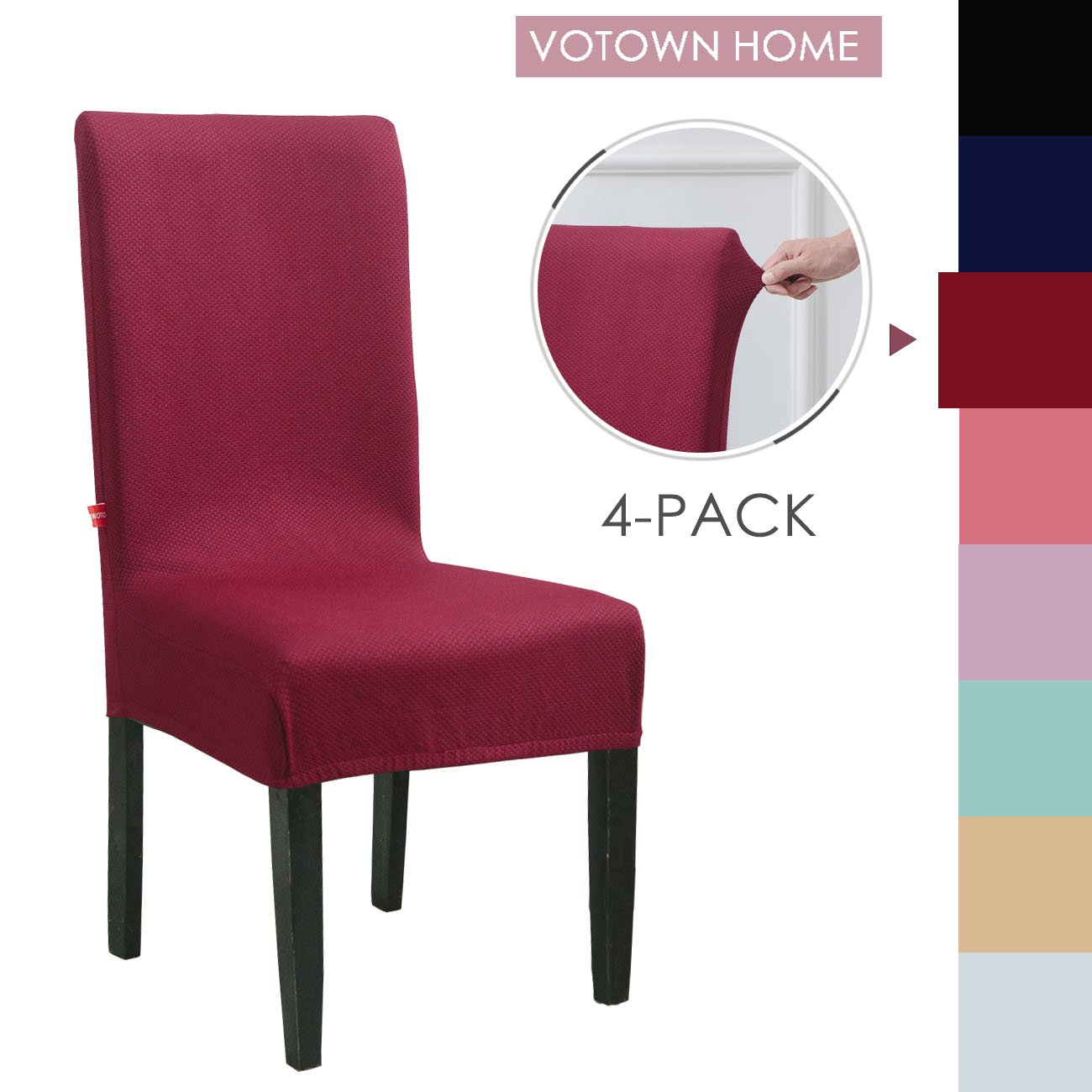 Votown Home Dining Room Chair Slipcovers Spandex Stretch fabric Home Decor Set of 4, Wine Red