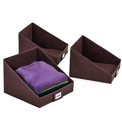 Caja Organizador de Tela con Portaetiqueta, Plegable, 3 pcs,