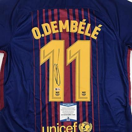 84f5883ee Autographed/Signed Ousmane Dembele FC Barcelona Blue Soccer Jersey Beckett  BAS COA Auto