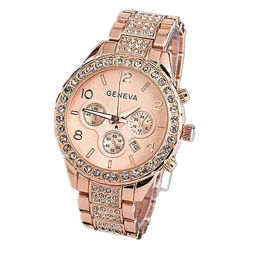 SKY Mujeres Reloj del calendario de diamante Fashion Luxury Crystal Quartz Watch (Oro rosa)