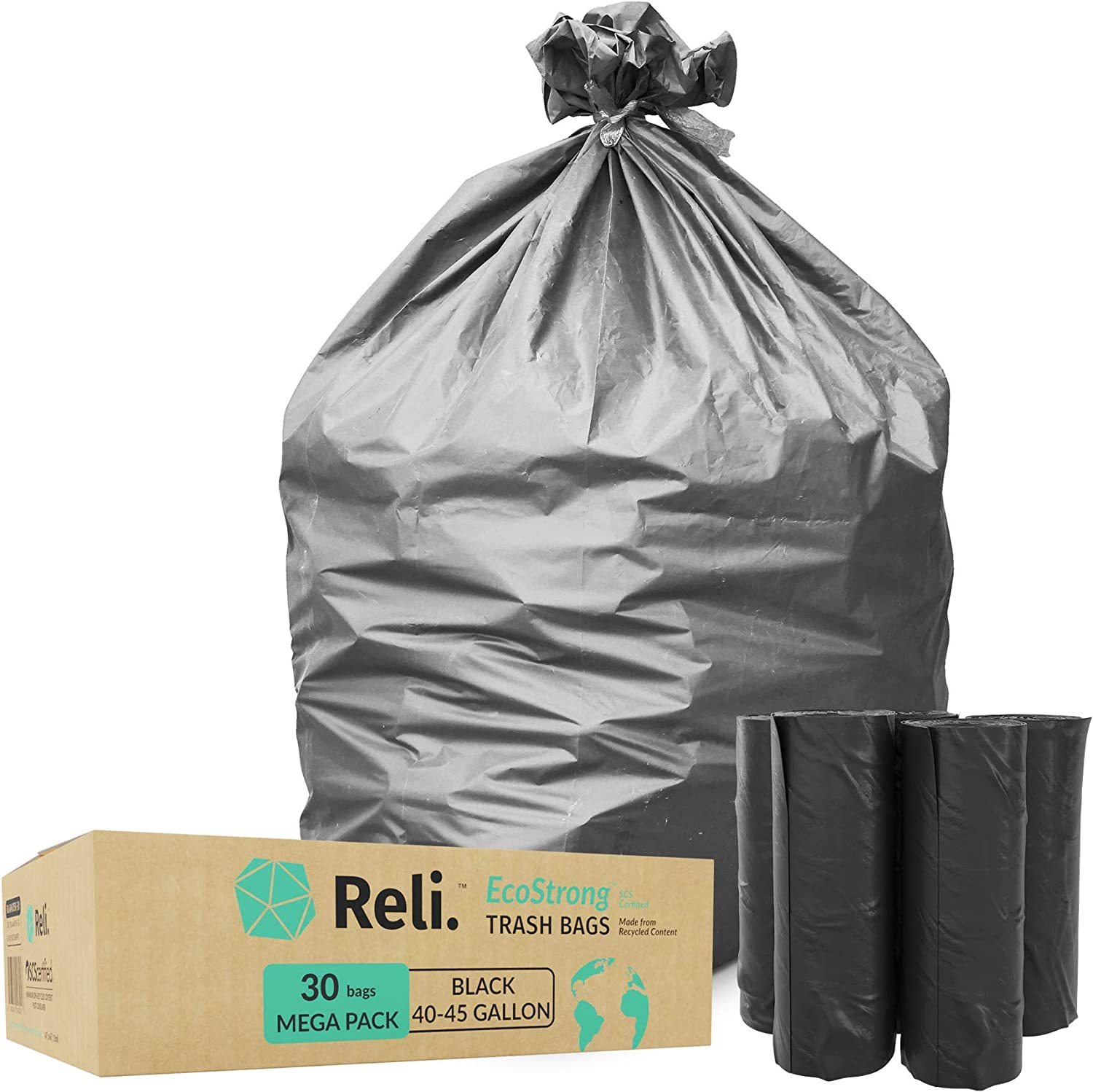 Reli. EcoStrong 40-45 Gallon Trash Bags (30 Count) Eco-Friendly Recyclable - 40 Gallon - 44 Gallon - 45 Gallon Black Garbage Bags, Made of Recycled Material, Black Garbage Bags 40-45 Gal Capacity
