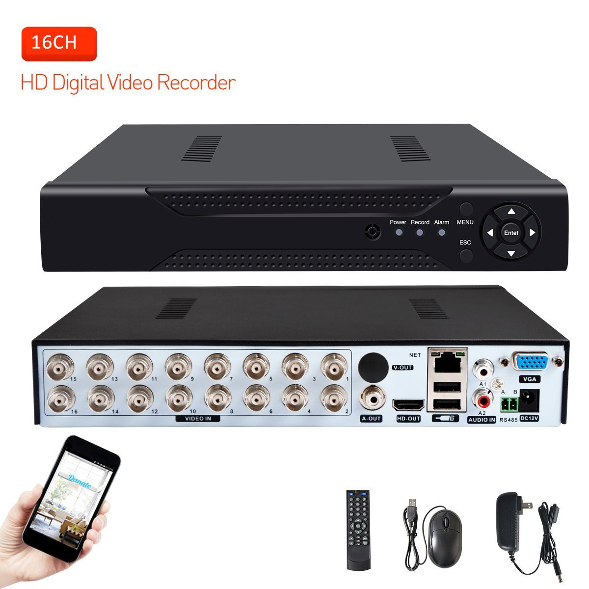 16 Channels DVR Recorder Hybrid DVR H.264 CCTV Security Camera System Digital Video Recorder(No hard drive included)