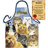 Katzenfreunde Kochschürze: Cats - liebes Katzenmotiv - Schürze one Size Fb bunt mit gratis Urkunde : )