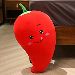 Plush Toy Cartoon Vegetable Plush Toy Cute Soft Simulation Carrot Eggplant Pepper Corn Plant Pillow Plush Toy for Kids 30/50cm 35cm red Chili