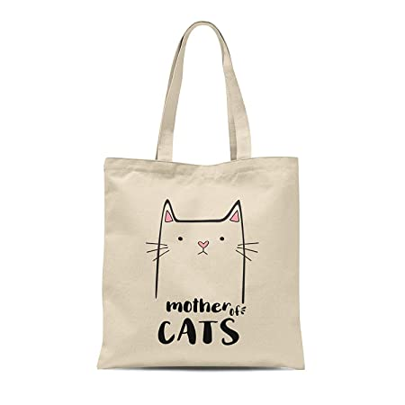 d3f94a1456 MYOG Personalised Prints MYOG Mother Of Cats Cotton Tote Bag Shopper  Mothers Day Pet Mum Crazy Cat Lady Gifts (Natural)  Amazon.co.uk  Kitchen    Home