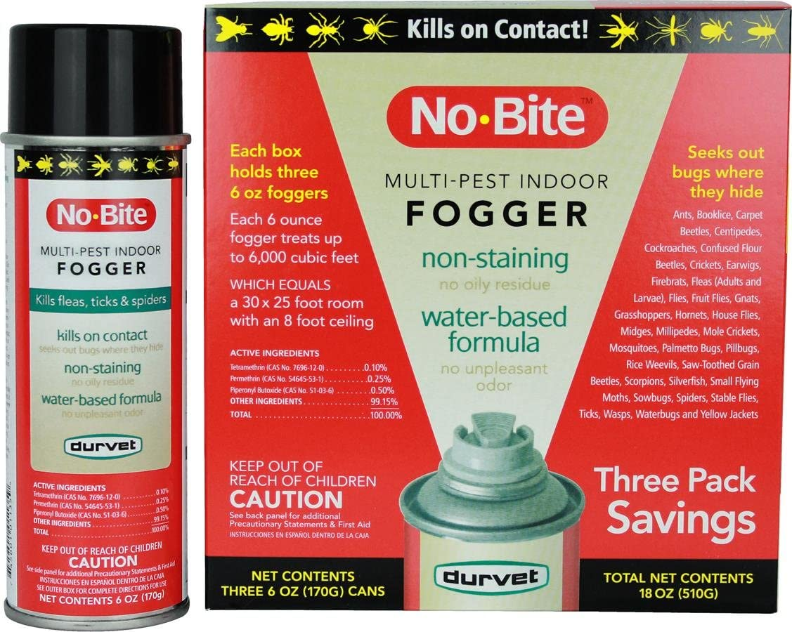 Durvet 011-1135 No-Bite Multi-Pest Indoor Fogger (3 Pack), 6 oz, Orange