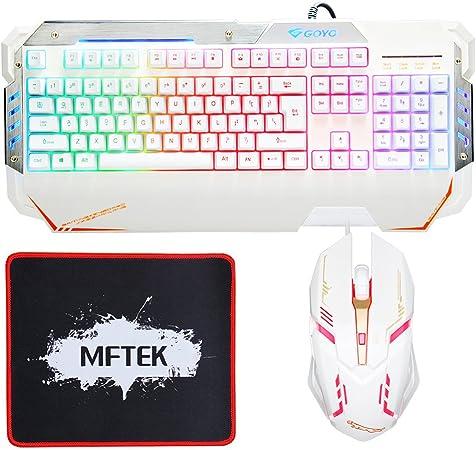 MFTEK Gaming Teclado y Ratón blanco Weiß