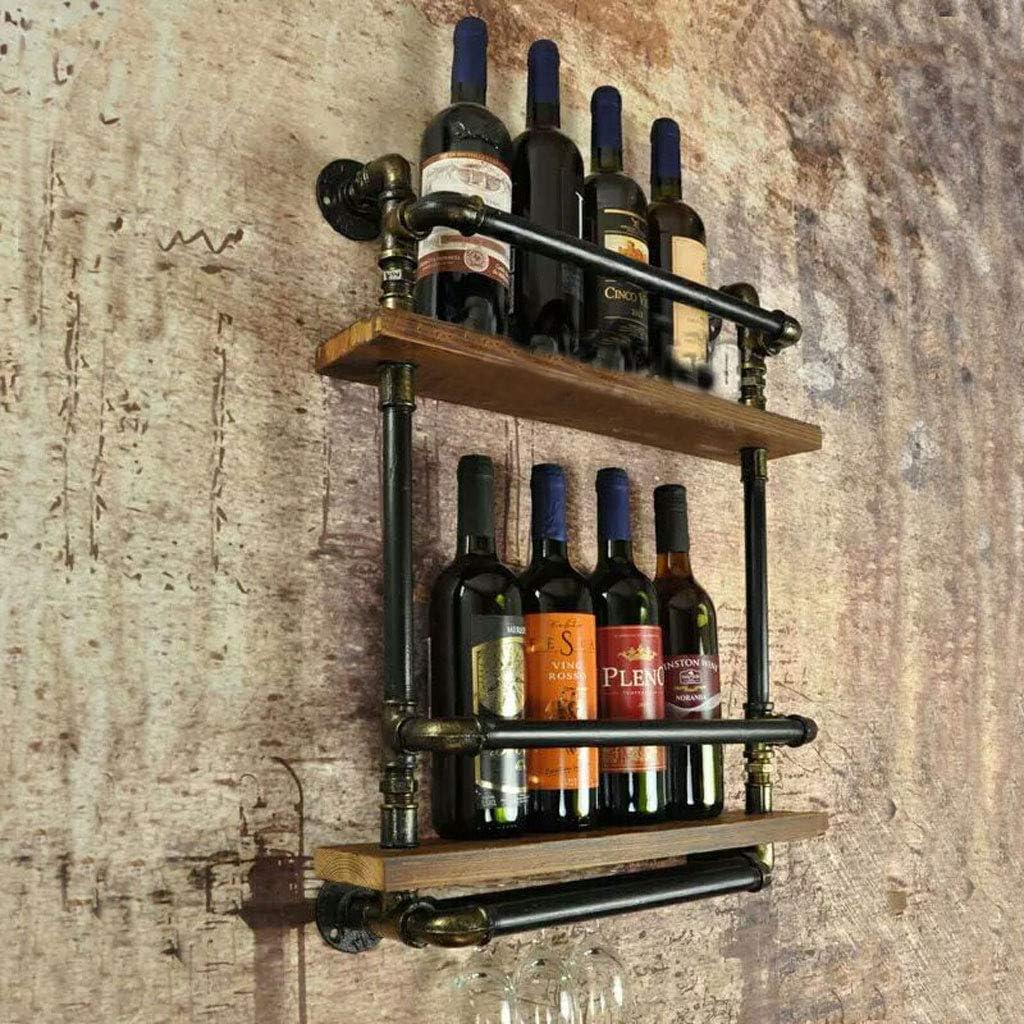 Botelleros - Vendimia Hierro Forjado Madera Maciza Colgante de Pared Simple Almacenamiento Cálido Vino Rack Guzzle Gabinete