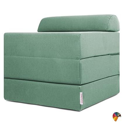 Pouf Letto Pieghevole.Arketicom Sleeping Cube Pouf Letto Design Pieghevole Sfoderabile Verde