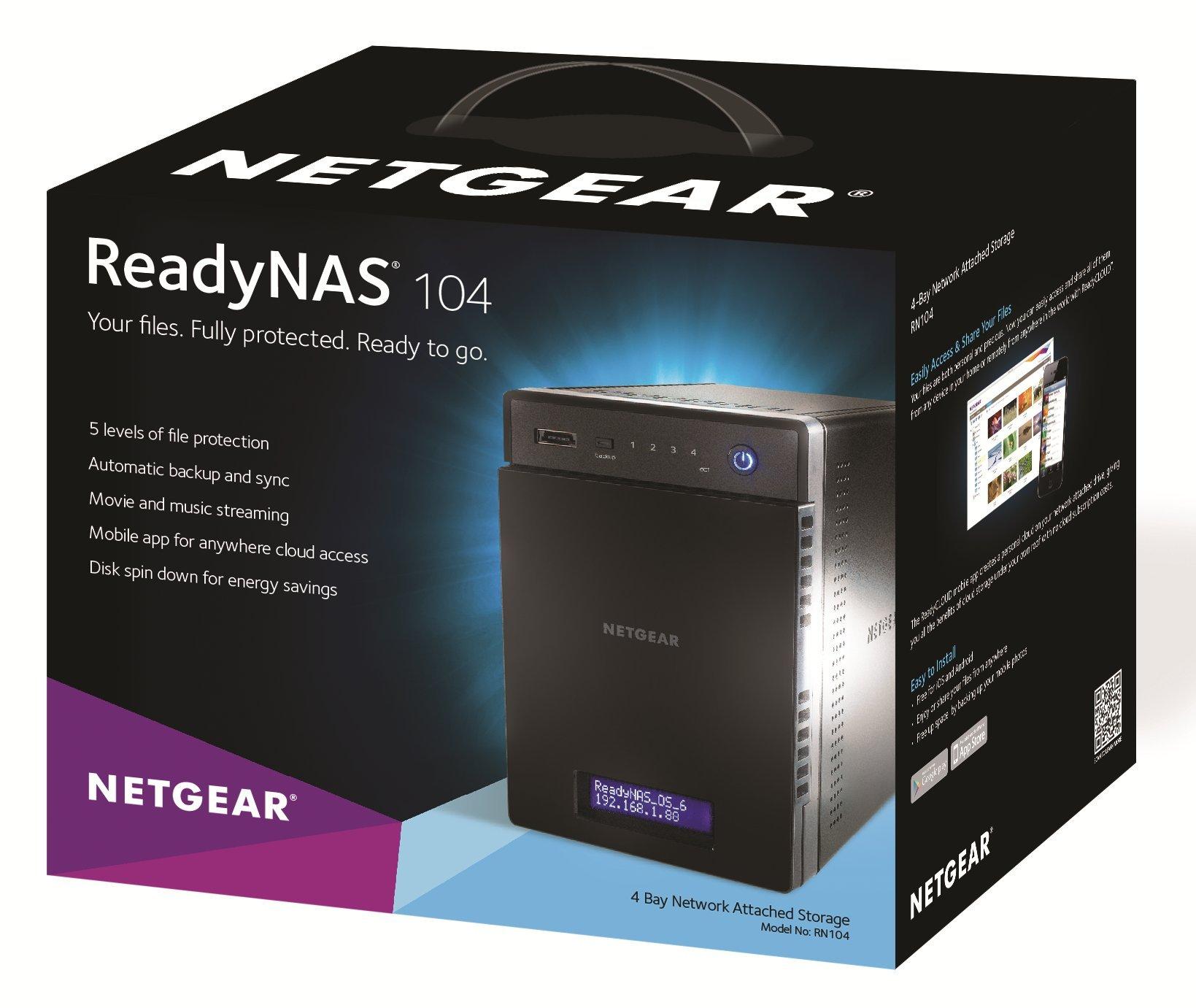 NETGEAR ReadyNAS 104 4-Bay Network Attached Storage 4TB (RN10441D-100NAS) by NETGEAR