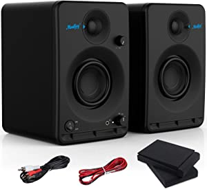 """Moukey Studio Monitor 3.5"""" Near Field Studio Monitors Powered Speakers with 2-Pack Including Studio Monitor Isolation Pads"""