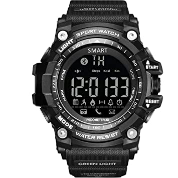 KYQ Reloj Digital Inteligente para Hombres Bluetooth Calibrador Podómetro Inteligente Led Reloj Impermeable Reloj Deportivo Militar
