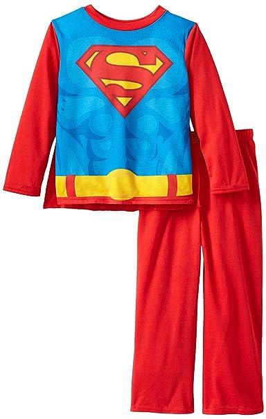 Amazon.com  Komar Kids Boys 4-8 Red Superman Pajamas with Cape M 8 ... 77d8592dd