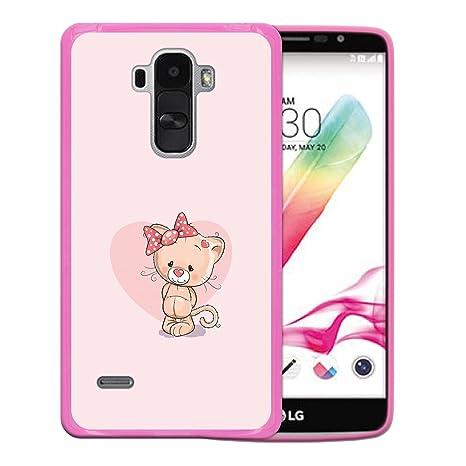 WoowCase Funda LG G4 Stylus, [LG G4 Stylus ] Funda Silicona Gel Flexible Gatito Love, Carcasa Case TPU Silicona - Rosa