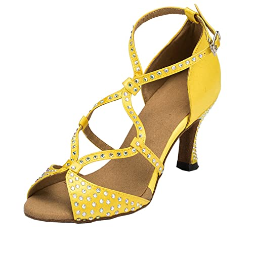 1a68f2e777ce31 Miyoopark Women s TH056 Flare Heel Yellow Satin Wedding Ballroom Latin  Taogo Dance Sandals AU 10